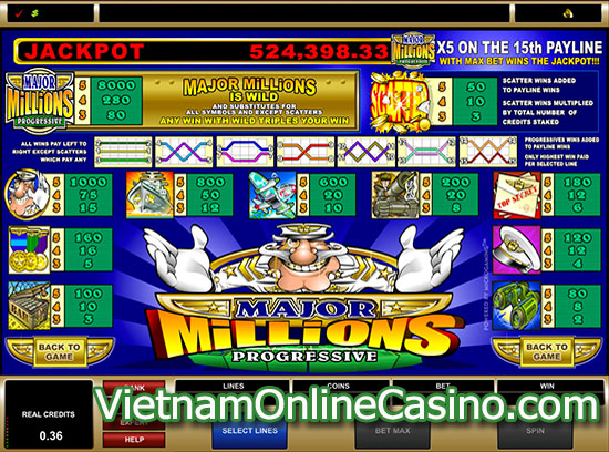 Major Millions 5 Reel Slot - Payline