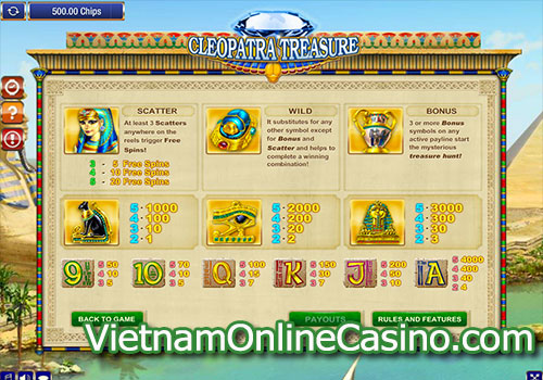 Cleopatra Treasure Slot Pay Table