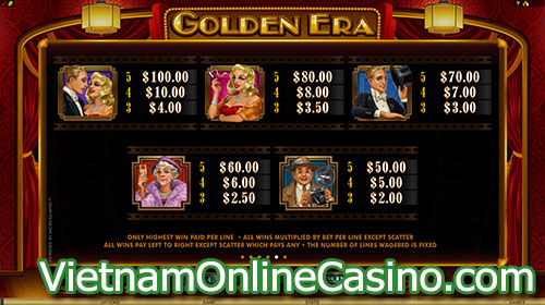 Golden Era Slot Pay Table 1